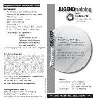 JUGENDtraining beim Freiburger TC - Freiburger Tennisclub eV