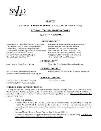REGIONAL TRAUMA ADVISORY BOARD April 21, 2010 - 2:30 PM