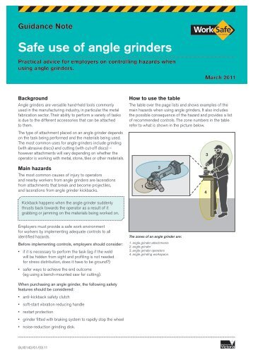 Safe use of angle grinders (PDF 1264kb) - WorkSafe Victoria