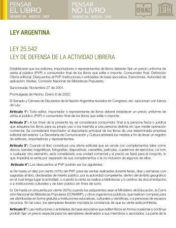 ley argentina ley 25.542 ley de defensa de la actividad librera - Cerlalc