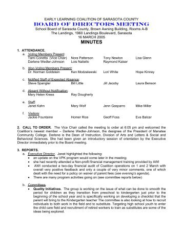 03-16-05 Board Minutes - FINAL.pdf - Early Learning Coalition of ...
