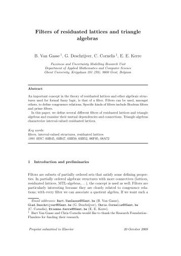 Filters of residuated lattices and triangle algebras - Computational ...