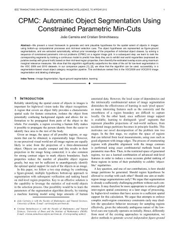 Automatic object segmentation using constrained parametric min-cuts