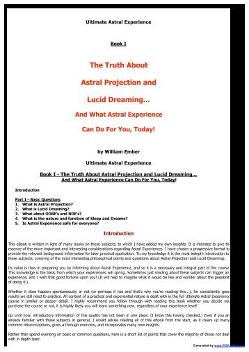 The Truth About Astral Projection and Lucid Dreaming... - Trans4mind