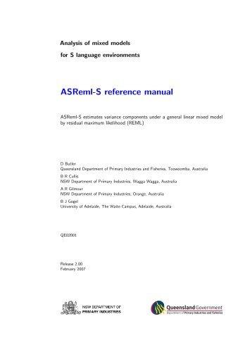 ASReml-S reference manual - VSN International