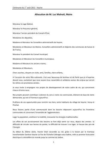 Discours du 1er août 2012 (PDF) - Veyrier