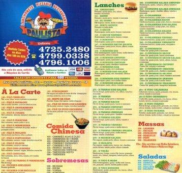 Cardápio Lanchonete, Pizzaria e Restaurante Paulista - Comunidades