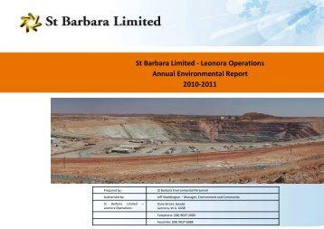 Leonora Operations Annual Environmental Report 2010-2011