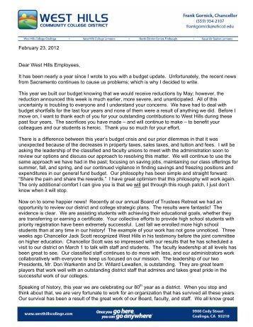 Employee Letter, Budget Update - February, 2012 - West Hills ...
