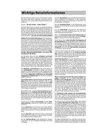 Wichtige Reiseinformationen - Hirsch Reisen