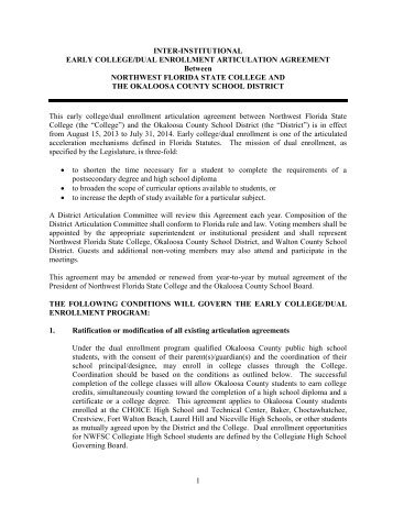 Okaloosa County School District dual enrollment agreement