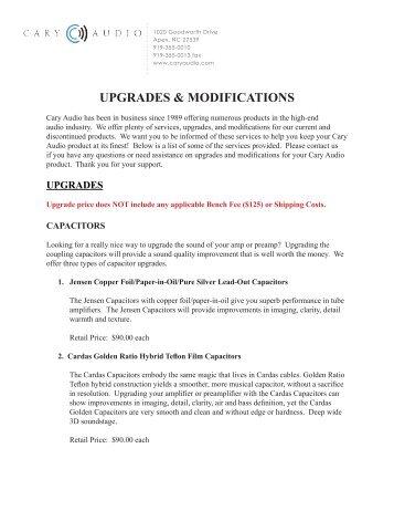 UPGRADES & MODIFICATIONS - Cary Audio Design