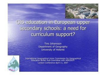 GIS Education in European Upper Secondary Schools - HERODOT ...