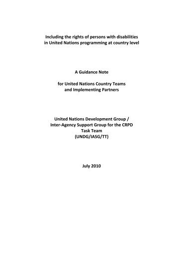 Disability - Guidance note for UN Country Teams - Office of the High ...