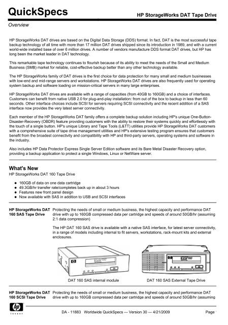 HP StorageWorks DAT Tape Drives