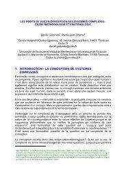 1. INTRODUCTION - LA CONCEPTION DE SYSTEMES COMPLEXES