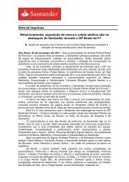 Nota de Imprensa Relacionamento, exposição de ... - Santander