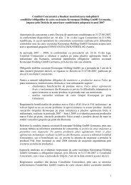 1 Consiliul Concurentei a finalizat monitorizarea indeplinirii ...