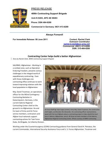 Training in Afghanistan - Home Page 409th Contracting Support ...