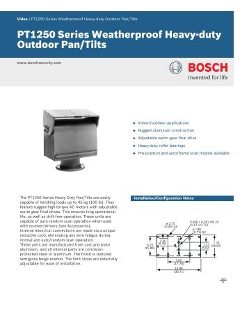 PT1250 Series Weatherproof Heavy-duty Outdoor Pan/Tilts