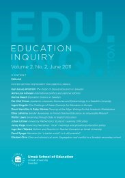 Reform and Reaction in Teacher Education at ... - Umeå universitet