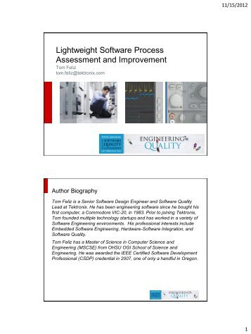 Lightweight software process assessment and improvement - PNSQC