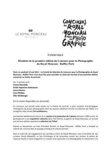 Lauréats Concours pour la photographie - Le Royal Monceau