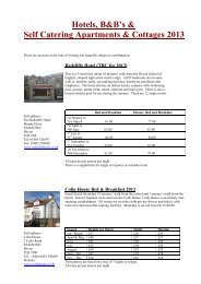 Hotels, B&B's & Self Catering Apartments & Cottages 2013