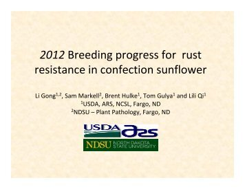 2012 Breeding progress for rust resistance in confection sunflower