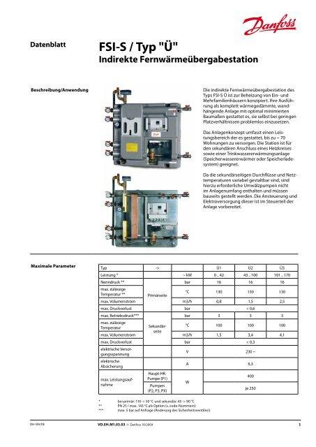 """FSI-S / Typ """"Ü"""" Indirekte Fernwärmeübergabestation - Danfoss GmbH"""