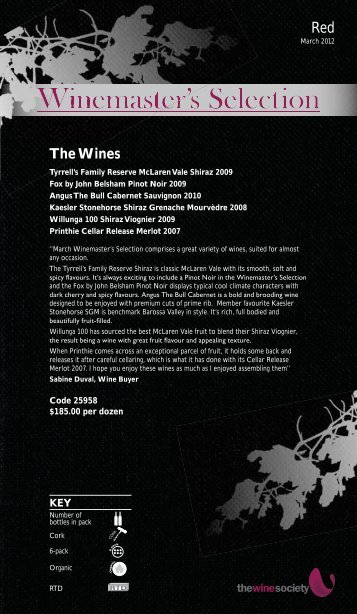 Winemaster's Selection March 2012 - Red - The Wine Society