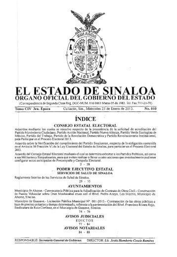 P.O.E 23/01/2013 - Gobierno del Estado de Sinaloa