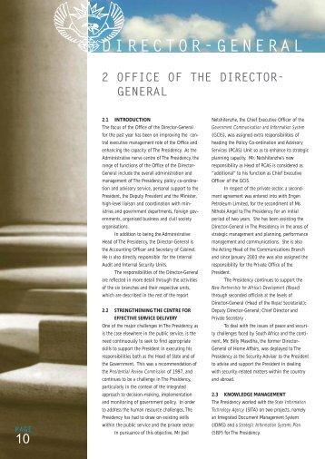 DIRECTOR-GENERAL - The Presidency