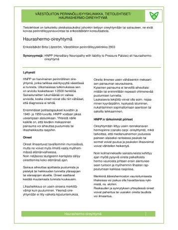 Haurashermo-oireyhtymä - Väestöliitto