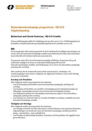 Beteendevetenskapliga programmet, 180 hp (Västerås) (pdf 185 kB)