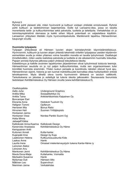 rajapinta työpajaraportti - Kehittämiskeskus Oy Häme