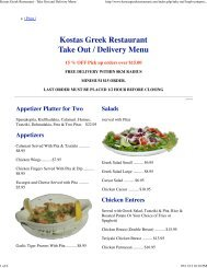 Kostas Greek Restaurant - Take Out and Delivery Menu