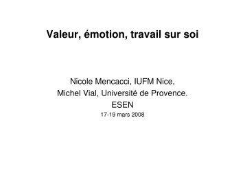 Valeur, émotion, travail sur soi - Esen