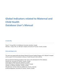 Global Indicators related to Maternal and Child Health - St. Michael's ...