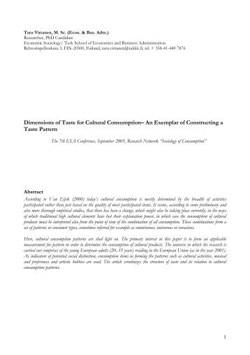 Dimensions of Taste for Cultural Consumption– An Exemplar ... - SIFO