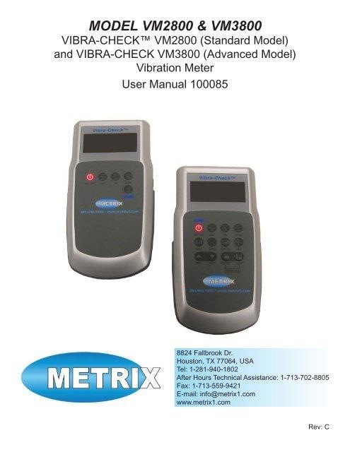 MANUAL, VIBRACHECK, VM2800 & VM3800     - Istec International