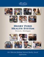 2011 Baldrige Application - Henry Ford Health System