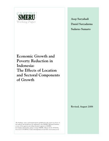 Economic Growth and Poverty Reduction in Indonesia - East Asian ...