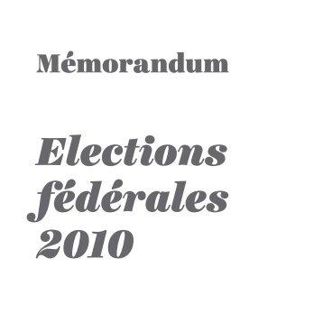 Elections fédérales 2010 - Centre d'Action Laïque