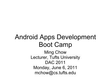 Android Apps Development Boot Camp - Tufts University