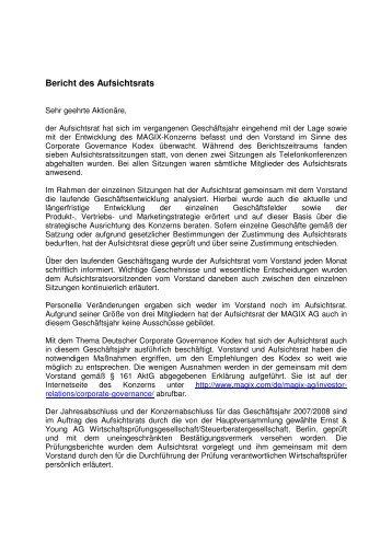 Bericht des Aufsichtsrats - MAGIX Investor Relations