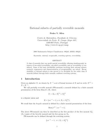 Rational subsets of partially reversible monoids - Faculdade de ...