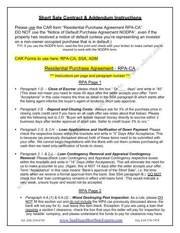 Short Sale Contract & Addendum Instructions Residential Purchase ...