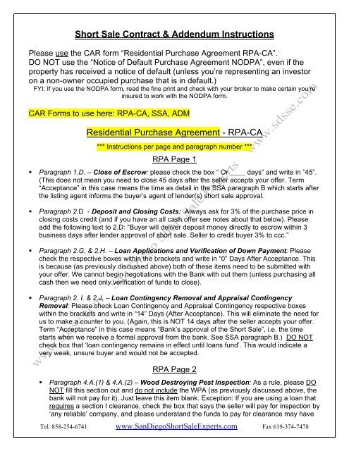 Short Sale Contract Addendum Instructions Residential Purchase