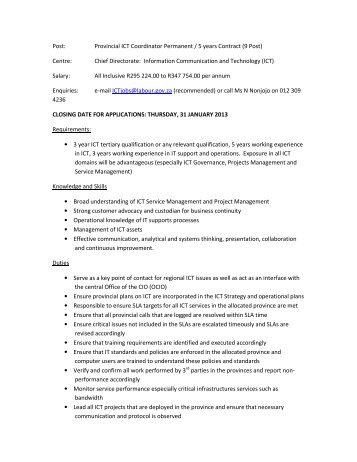 Post: Provincial ICT Coordinator Permanent / 5 years Contract (9 ...
